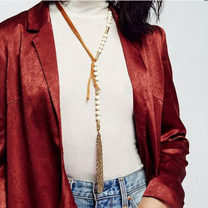 NWT Free People two faced rosary bolo necklace